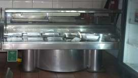 Display fridge 2.4m  bain marie 5 divisio chips fryer 2×20l for sale