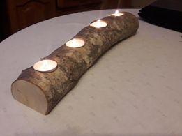 Świecznik drewniany, brzozowy hand made, teelight