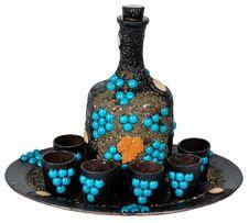 Подарок мужчине, украинские сувениры декоративные бутылки с подносом