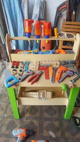 Kids tool work station and tools