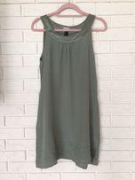 H&M 36 trapezowa sukienka pistacja pastelowa w stylu twiggy 60's blog