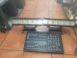 JBSystems console and 2 Stagebar 54 S stage lights 55Jul20