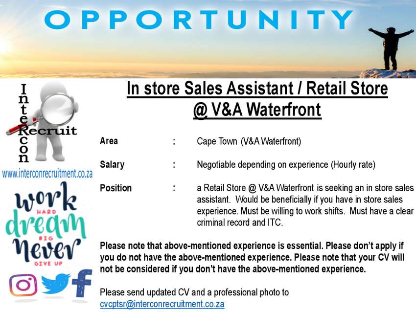 In store Sales Assistant / Retail Store @ V&A Waterfront - Cape Town 0