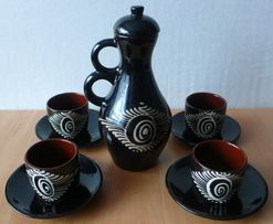 Кофейный набор на 4 персоны. Керамика. Набір для кави.
