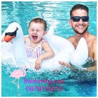 Новинка! Надувной детский круг круг-ходунки Белый Лебедь с трусиками