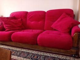 Stylowa kanapa dębowa z fotelami