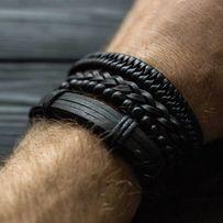 Браслет кожаный мужской mod.Collaba чёрный комплект из 4х браслетов