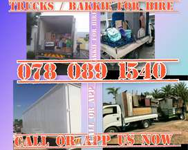 TRUCKS AND BAKKIE FOR HIRE AVAILABLE