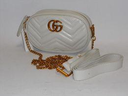 Gucci torebka 2w1 listonoszka nerka saszetka biała