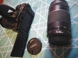 Digital camera Canon 200D with two lenses 18 - 55mm and 75 - 300mm