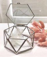 Шкатулка стеклянная скляна для обручальных колец скриня свадебный деко