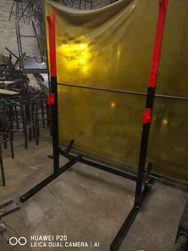 Heavy duty squat Racks height adjustable 50x2mm square tube.