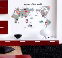 Naklejki na ścianę Mapa Świata Flagi WS-0232