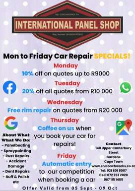 Panelbeater Services Specials!