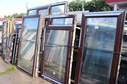 Металлопластиковое коричневое окно, балконная рама , балконная дверь