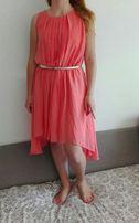 Sukienka Mohito r.42 L zwiewna, delikatna, plisowana,pomarańczowa