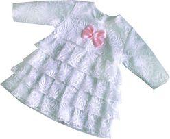 4 falbany sukienka koronka atłas Chrzest chrztu r.62