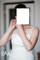 Delikatna suknia ślubna śmietankowa 38 koronka haft klasyczna bolerko