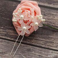 Wsuwka kokówka ślub komunia perełki kryształki kwiat