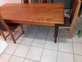8 seater solid yellow wood dining table with 6 dining chairs