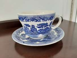 Blue English oriental cup and saucer large