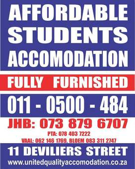 STUDENT ACCOMMODATION IN JHB,PTA AND VAAL