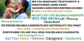 GET TRUSTWORTHY NANNIES/MAIDS/DRIVERS