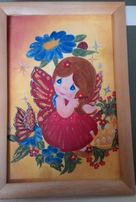 """Картина """" Малышка Фея"""" маслом на холсте 20х30 с рамой и подвесом"""