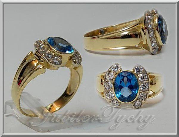 Złoty pierścionek z cyrkoniami złoto 585 Wyprzedaż OKAZJA jubilertychy Tychy - image 1