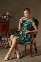 Платье летнее с элегантным гобеленовым принтом размер s/м