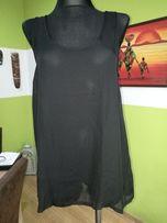 Bluzka koszula czarna prześwitująca kokarda na placach L