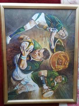 Various sports framed items for sale