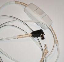 Штекер питания 5.5 X 2.5мм угловой с белым проводом и выключателем
