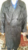 Мужское кожаное пальто, плащ, размер 50