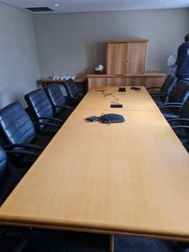 Pre owned Boardroom Table with 10 chairs and Side Board