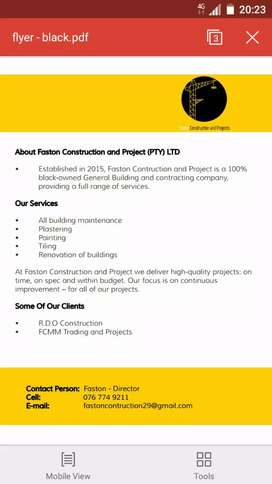 FASTON CONSTRUCTION AND PROJECT  (PTY) LTD