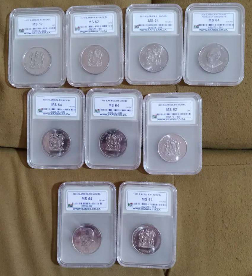 9 x Graded Nickel R1 Coins - Mint State 0