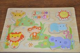 Zestaw Puzzle drewniane, cyfry, afryka, zwierzęta, bdb