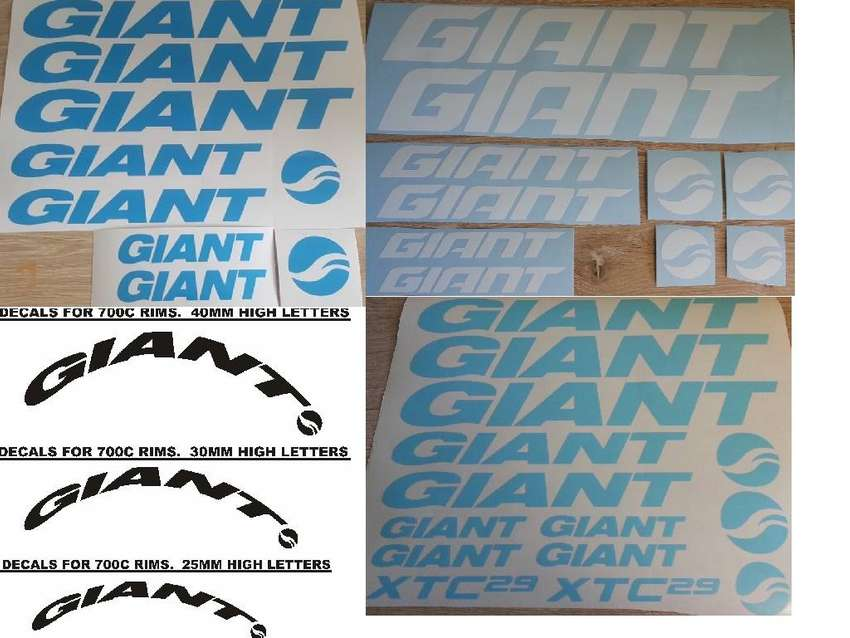 Decals stickers vinyl cut graphics for GIANT frames and rims 0