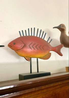 Colourful Wooden Fish Displays