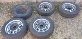 15 inch 5 hole steel rims and tires