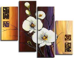 Модульная картина маслом Орхидеи. Цветы