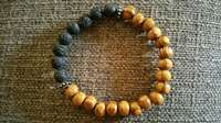 Image of Natural wood and lava stone bracelet