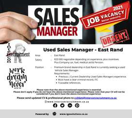 Used Vehicle Sales Manager - JHB