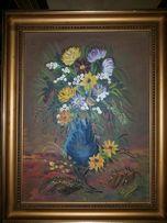 obraz olejny kwiaty sklejka rama ręcznie malowany 37x46 sygnowany
