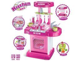 Детская кухня-чемодан 008-58, 008-58А звук,свет, розовая и красная.