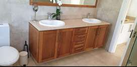 FOR SALE:  Solid wood + marble double Vanity &  Large mirror