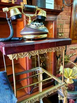 Antique brass/wood telephone seat/table
