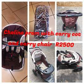 Chelino pram, carry cot nd carry chair