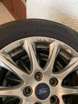SELLING MY SET OF TYRES & RIMS FOR FORD FUSION 215/60R16.
